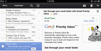 Aplicação Gmail para iPad e iPhone