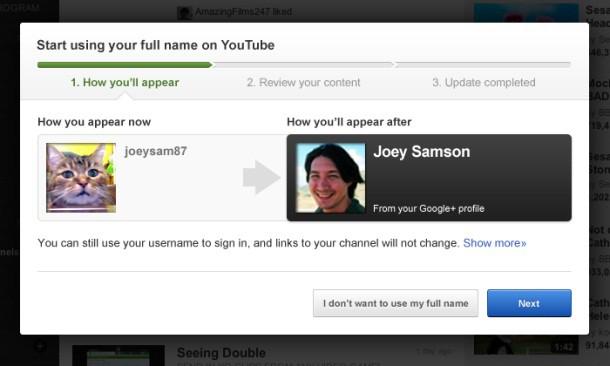 YouTube mudança nome real