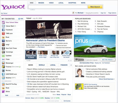 Yahoo novo design