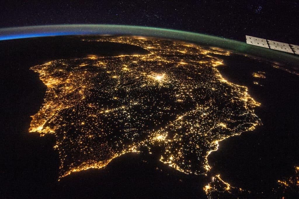 Peninsula Ibérica noite NASA