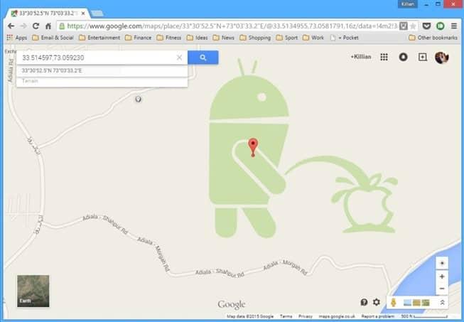 Android urina numa maça