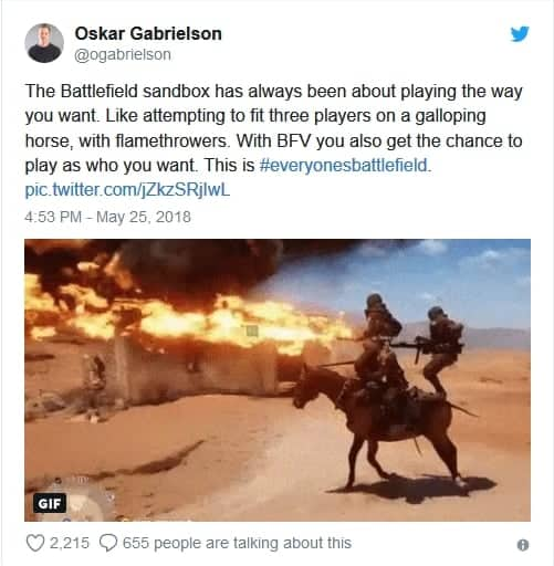 Comment of Oskar Gabrielson about Battlefield V