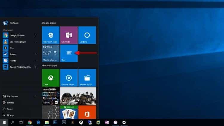 Windows 10 comando Executar