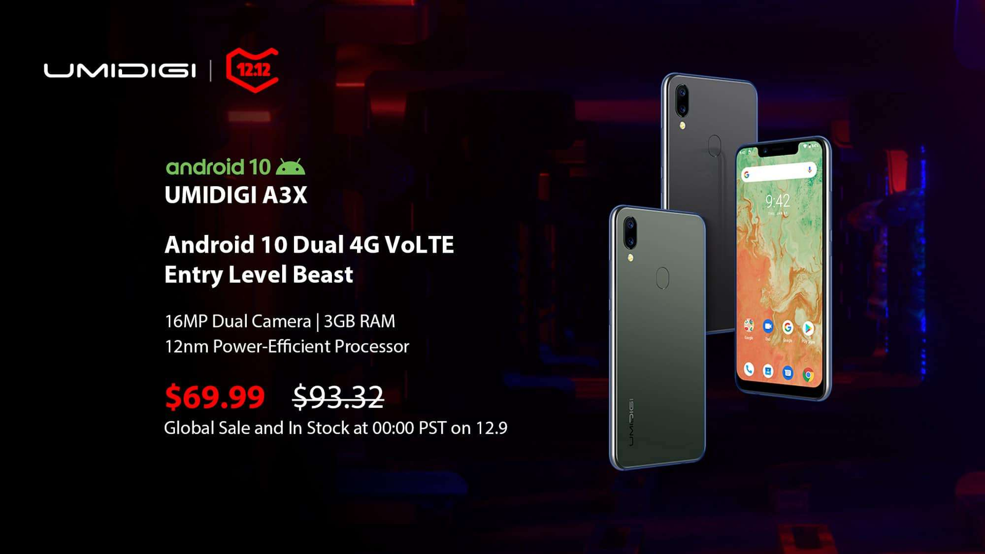 Umidigi announces new A3S smartphon for $ 59.99: Cheap smartphone with Androi d10